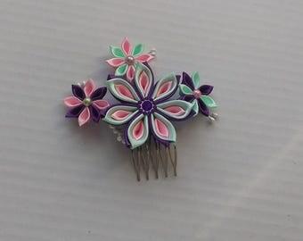 Comb kanzashi/pin hair to hair flowers/Barrette kanzashi/flowers pink, green, violet/Fleur kanzashi/clip hair/Ribbon satin