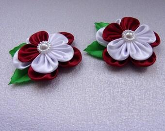 Hair clips for child/pins Ribbon satin/Barrettes flowers kanzashi in satin/ribbon satin