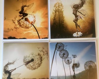 4 pack of Fairy greetings cards by FantasyWire, including Skylark, Anahi, Trillian and Dancing with Dandelions