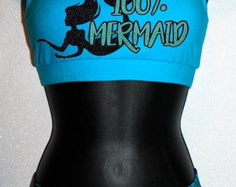 100% Mermaid - Wacki Set - Cute Mermaid Bra, Bow and Wacki shorts Set
