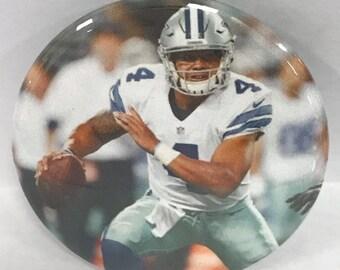 "DALLAS COWBOY  Dak Prescott  # 4 - 2.25"" Button -  Magnet - or Mirror - NFL Cowboy Souvenir - N.F.C. East Champions"