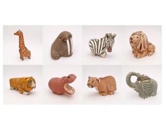 Set of 8 Vintage Artesania Rinconada, Uraguay Pottery Figurines, Hand Made, Artist Signed, ca. 1960's