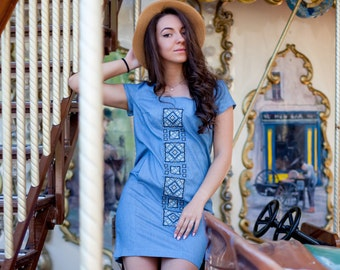 Embroidered denim dress with Ornament