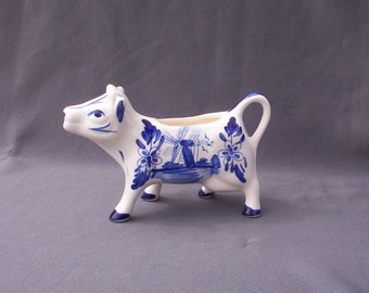 Blue & White Hand-Painted Porcelain Cow Creamer, Delft-like Dutch Windmill Scene