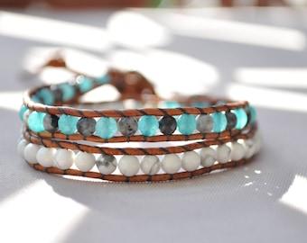 Bracelet wrap 2 turns • leather, Jade Turquoise, Labradorite, Howlite