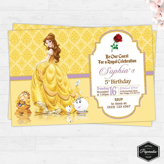 La Bella y la Bestia Invitación de Cumpleaños Imprimible