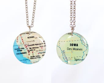 Double Sided State Necklace, Two State Necklace, Personalized Necklace, Custom Necklace, State Jewelry, US Map, State Charm, Long Distance