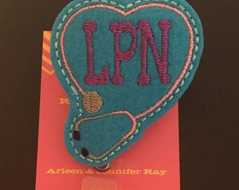 LPN stephoscope ID badge reel holder retractable clip