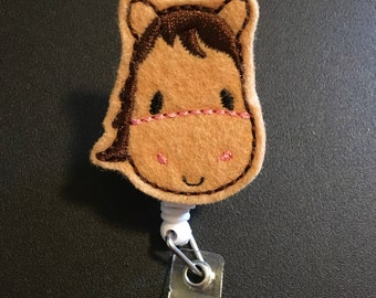 Horse ID badge reel holder retractable clip