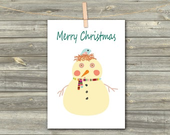 Merry Christmas, DIGITAL CARD, Holiday Greeting Card, Christmas Greetings, New Year Greetings, Download Card, Snowman Print, Winter Holiday