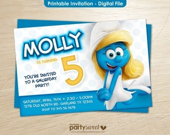 The Smurfs Birthday Invitation Smurfs Party Invite The