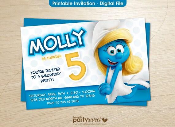 Smurfs Invitation Smurfs Birthday Smurfs Party Smurfs