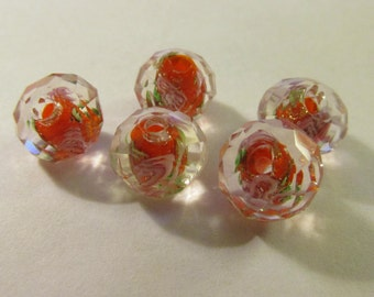 Faceted Orange Glass Beads with Pink Roses, 12mm, Set of 5