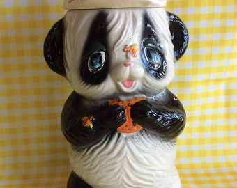 Vintage Panda Bear cookies jar collectible display Giftcraft Japan kitchen storage or canister