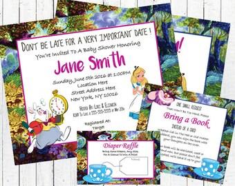 Alice Wonderland Baby Shower Invitation Set - Tea Party