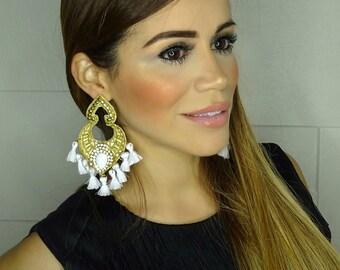 Tassel Earring, Threader earring, Fringe Earrings, White Earrings,Boho Earrings Women,Colorful Earrings,Big Earrings,Wholesale Earrings,Boho