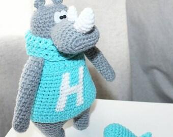Rhino stuffed toy doll  knitted Rhino crochet Rhino hand knit toy grey Rhino funny toy plush Rhino doll fuzzy Rhino toy Easter decor