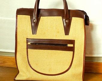 Travel Canvas Tote Bag Zipped Large Canvas Travel Bag Market Bag Vintage Tote Bag for Women