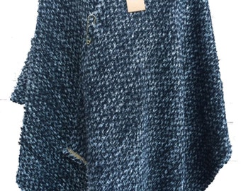 Womens Handmade Wrap Poncho Shawl Cape Black and White Wool Polyester Textured Boucle
