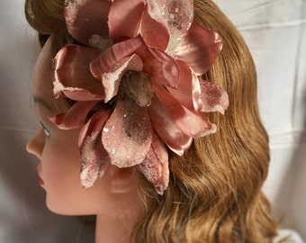 large Pink hair clip - pale pink glitter magnolia with buds - vintage  40s 50s pin up style