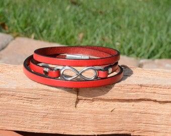 ETERNITY JEWELRY, LEATHER Wrap Bracelet, Leather Jewelry, Eternity Symbol, Minimalist Style, Wrap Bracelets, Magnetic clasp