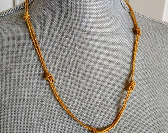 "Vintage Necklace, New with Tags, Textured Goldtone, Knotted Chain, 23"" Long, Original Box, by Talbot's, Ca. 1980s, Gift for Her"