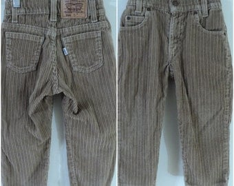 Vintage Levi's Cords 566 Loose Fit Corduroy Pants Made In The USA Boys Size 4T Toddlers