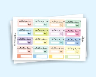 Utilities Due Stickers / Bill Due Stickers / Planner Stickers / Pay Bill / for use with Erin Condren LifePlanner™ / Minimalist | KA32