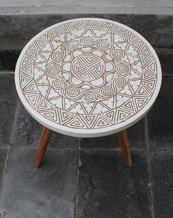 Boho tribal carved design three leg coffee bedside table for Tribal carved coffee table