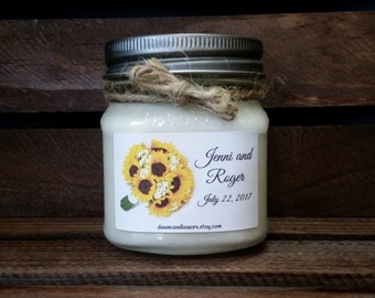 8oz Personalized Wedding Candles - Engagement Candles - Bridal Shower Favors - Wedding Gifts - Bridal Shower Gifts - Soy Candles Handmade