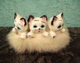3 White Kittens in a Furry Pink Basket / Vintage