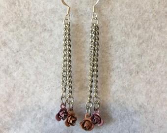 Pink & Orange Rose Earrings
