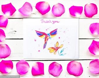 Handmade Greeting Cards, Bird Card, Hummingbird Thank You Card, Rainbow Bird Greetings Card, 5x7 Card, Bird Birthday Card Art Card for Her