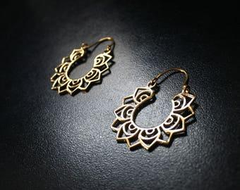 TRIBAL HOOP Earrings - Tribal Earrings, Brass Earrings, Gypsy Earrings, Lotus Earrings, Sacred Geometry Earrings, Gift, Tribal Jewelry, Psy