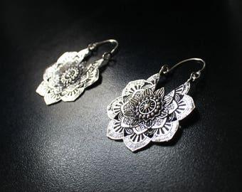MANDALA Earrings - Silver Earrings, Gypsy Earrings, Flower Earrings, Lotus Earrings, Geometric Earrings, Tribal Earrings, Psytrance, Psy