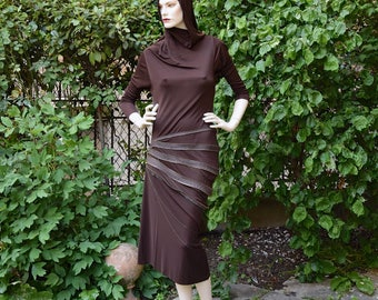 JEAN PAUL GAULTIER 1980 Zippers Mahogany Jersey Dress