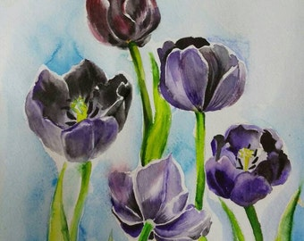 Original watercolor painting Dark tulips
