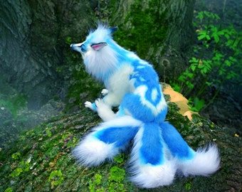 White blue Kitsune. (Made to order) fox okami Mythical beast soft toy
