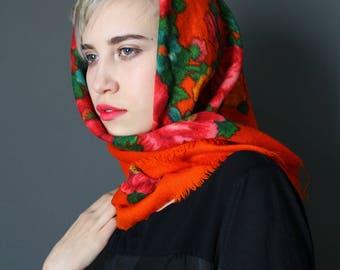 Vintage Large Wool Shawl - Soviet Vintage 1980s Square Large Bright Orange Red Flowers Print Shawl - Russian Traditional Country Boho Shawl