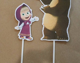 cake topper masha and bear and the bear cake decorations 2 masha pieces in cardboard double 210 gr