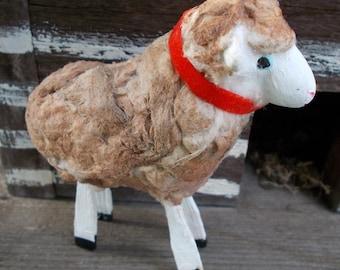 primitive clay sheep, country sheep, baby lamb, sheep figurine, farm animals, nativity display, sheep ornament, collectible sheep, sculpture