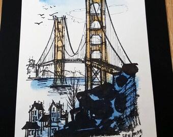 Two 1960s ART PRINTS Pair San Francisco Bay Scenes by John Friedman Novel Historical Hippie Art Artist with Colorful Past Mid Century Art