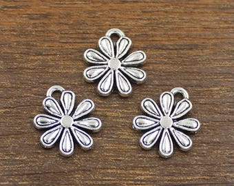 20pcs Flower Charms Antique Silver Tone 14x17mm - SH476