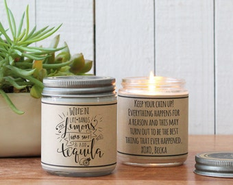 When Life Hands You Lemons Grab Salt And Add Tequila Soy Candle Gift | Encouragement Gift| Inspiration Gift | Support Gift | Illness Gift