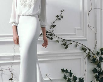 Chanelle - Sheath/Straight Silk Wedding Dress with Train