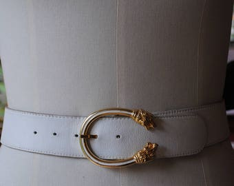 White leather belt, loop lion head 1980