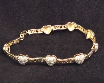 Vintage Sterling Silver and gold plated LOVE Bracelet with Diamond Accent