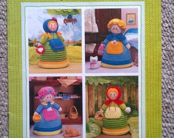 Jean Greenhowe's Topsy - Turnabout Doll  Knitting Pattern - 4 Fairy Tale Characters in 1 inc. Red Riding Hood, Miss Muffet & Mother Hubbard