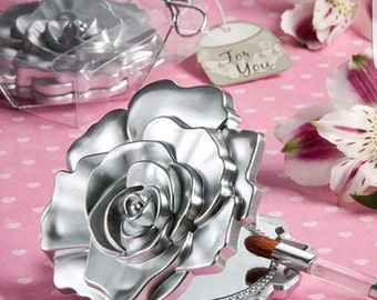 Realistic Plastic Silver Rose 3D Compact Mirror