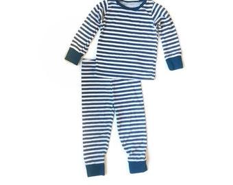 Deep Blue Stripe Pajama Set